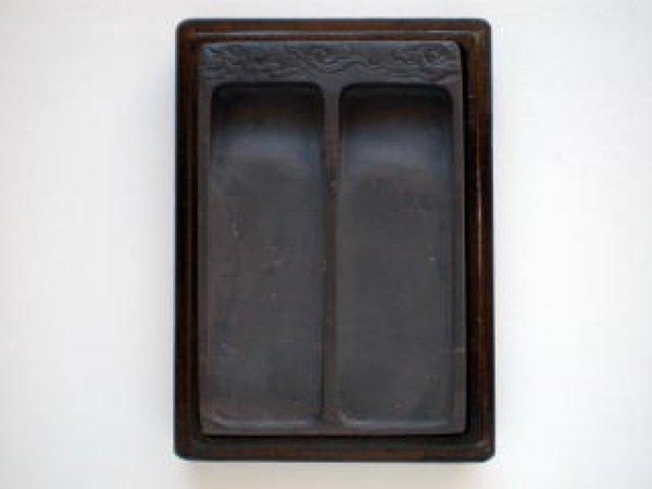 画像1: 篆刻硯 端渓 坑仔巖刻入双池硯4インチ (1)